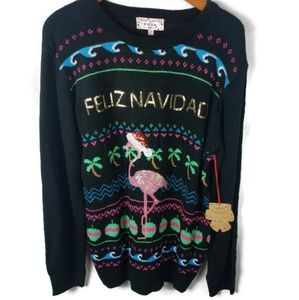 Holiday Flamingo Sweater Ugly Beach L Christmas